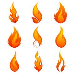 Elements of Vivid flame vector Icon 01- Top left flame or bottom center flame