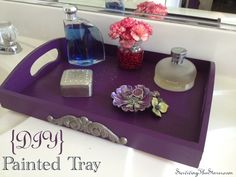 Wish you could find a tray in the PERFECT color? How to make a painted tray for your vanity! via @Rachel Holland, SurvivingTheStores.com #dittoDIY