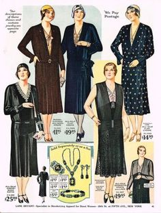 This is the Slenderizing Fashions for Stout Women and Misses catalog for Fall and Winter 1930-1931, featuring coats, dresses, millinery, jewelry, house robes, evening wear, shoes, corsets, lingerie and hosiery from the house of Lane Bryant. #antique #vintage #fashion #catalog #dresses #design #clothes #evening #wear #lingerie