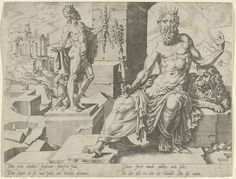 Dirck Volckertsz Coornhert | Juda, Dirck Volckertsz Coornhert, 1550 | Juda, de vierde zoon van Jakob en de stamvader van de belangrijkste stam van Israël. Zijn aanzien wordt benadrukt door de scepter in zijn hand en de kroon op zijn hoofd. Een leeuw ligt naast hem. Op de achtergrond een standbeeld van Jupiter, de hoofdgod van het Romeinse pantheon. Al deze attributen verwijzen naar de Jakobs zegening van Juda in Genesis 49. De prent maakt deel uit van een serie over de twaalf zonen van Jakob…