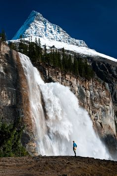 Emperor Falls and Mt Robson in Mt Robson Provincial Park, British Columbia.