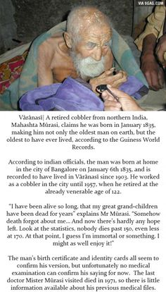 Reality or Hoax: Indian Man Claims He's 179 Years Old. looks more like ''hoax'' to me Things To Know, Old Things, Random Things, Wtf Fun Facts, Creepy Facts, Creepy Things, Strange Things, Random Facts, Faith In Humanity Restored