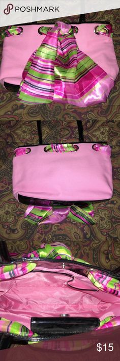 """Cute Pink Canvas Handbag with Scarf NWOT Really cute bag💕💕 it measures 12""""X8"""" and strap has a 9"""" drop. I ❤️ the colors and the pretty silky scarf 💕💕 Maggi B Bags Shoulder Bags"""