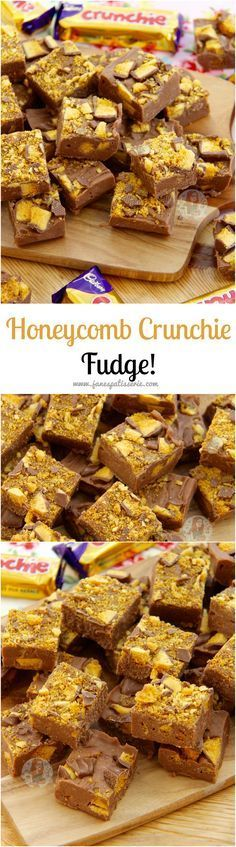 Honeycomb Crunchie Fudge Easy Utterly Delicious Chocolate Crunchie Fudge that anyone can make at home No Sugar Thermometers No Boiling just quick and easy Crunchie Recipes, Fudge Recipes, Candy Recipes, Sweet Recipes, Baking Recipes, Dessert Recipes, Cook Desserts, Vegan Recipes, Delicious Fudge Recipe