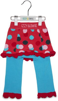 Coral and Blue Polka Dot Girls Leggings Izzy & Owie - Giggles Gear