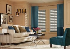 Graber Zebra Shades With Graber Back Tab Drapery Panels