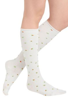 Rose Bud-dy System Socks - White, Multi, Floral, Scholastic/Collegiate