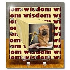 Wisdom written on the background of a puppy on a book in 3D Repousse Desk Clock