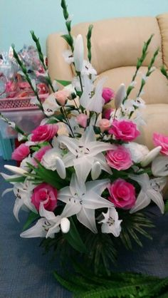 My handmade nylon flower arrangement with lilies, gladiolus and roses