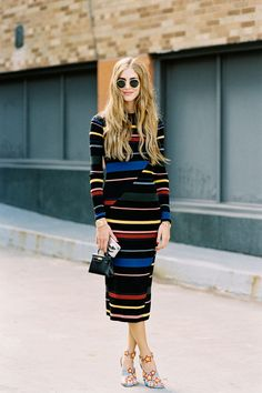 Chiara Ferragni of The Blonde Salad , before Derek Lam, NYC, September 2015.     Striped knit dress.     Recreate Chiara's look (kind...