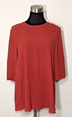 Eileen Fisher Shirt Women Size S Paprica Red Jersey Knit 3/4 sleeve Keyhole $229 #EileenFisher #Blouse #Career