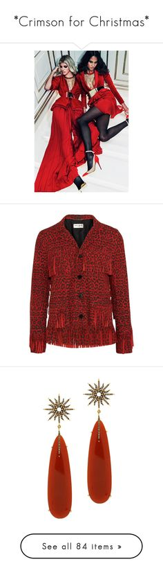 """""""*Crimson for Christmas*"""" by mercanici ❤ liked on Polyvore featuring models, outerwear, jackets, saint laurent, yves saint laurent, suede jacket, leopard jacket, red fringe jacket, leopard print jacket and jewelry"""