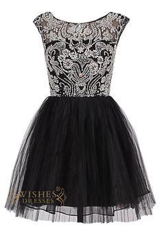 O-neck Delicate Beaded Black Short Cocktail Dress/ Prom Dress Am70