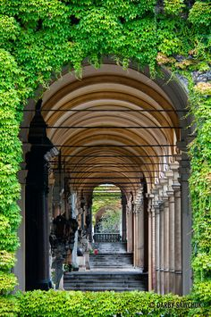 The arcades of Mirogoj Cemetery in Zagreb, Croatia.