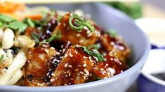 Skip the takeout - this is a super fun version of Sesame Chicken that is extra delicious and extra nutritious. Who said good-for-you can't taste great? Mango Recipes, Asian Recipes, My Recipes, Chicken Recipes, Favorite Recipes, Ethnic Recipes, Free Recipes, Cooking Jasmine Rice, Mango Chicken