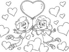Cute Valentines Day coloring page of a boy and girl with a heart-shaped balloon.  Lots more to choose from at...  http://www.coloringpages4u.com/valentinesday_coloringpages