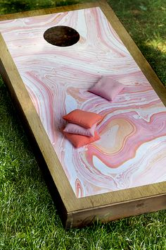 the HUNTED INTERIOR: Marbleized Corn Hole Boards
