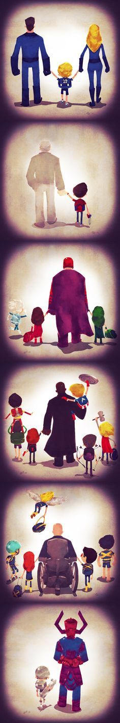 Vamos imaginar que o Batman, Superman, Professor Xavier e até o Magneto sejam pais. Quem seriam seus filhos? E como eles seriam? Foi essa a proposta que
