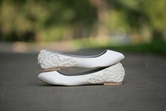 Wedding Shoes - Ivory Wedding Flats with Ivory Lace.