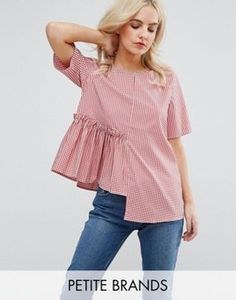 New Look Petite Spliced Gingham Top - Red Latest Fashion Clothes, Trendy Fashion, Girl Fashion, Fashion Outfits, Fast Fashion, Fashion Online, Kurta Designs Women, Blouse Designs, Patron Vintage