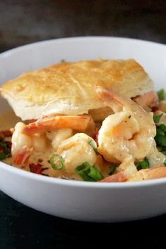 Cajun Shrimp and Biscuits with Bacon- {Creole Contessa}..yummmmm!