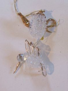 Vtg Special Set of 2 Spun Glass Christmas Ornaments w Gold Hummingbird Teapot   eBay