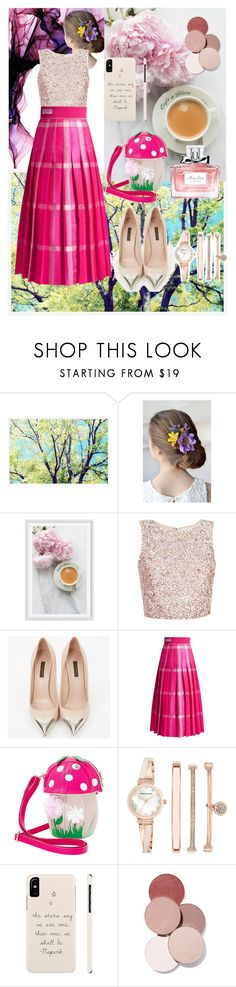 """garden party...🌼🌹🌷"" by sha-shu on Polyvore featuring Pottery Barn, Louis Vuitton, Fendi, Betsey Johnson, Anne Klein, LunatiCK Cosmetic Labs and Christian Dior"