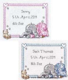 Sleepy Baby Birth Sampler -  Peanut & Friends Cross Stitch Kit