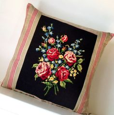 French Large 22 Tapestry Needlepoint Floral by Retrocollects