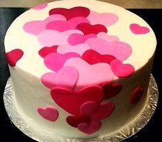 26 Ideas Cupcakes Versieren Valentijn For 2019 Bolo Fondant, Fondant Cakes, Cupcake Cakes, Buttercream Cake, Fancy Cakes, Cute Cakes, Heart Cakes, Valentines Day Cakes, Salty Cake