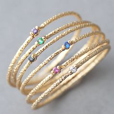 Yellow Gold Stackable Thin Rings Set of 6  | kellin - Jewelry on ArtFire, use family members birthstones.