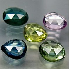 Natural Mix Color Rose Cut Sapphire Freeforms 5 Pc by SilverFound, $25.50