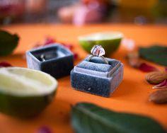 Free shipping Gray Velvet Ring Box Handmade by SecretKeeperBox