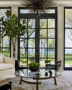 Gorgeous French doors and windows with black trim make a striking statement in t. Gorgeous French doors and windows with black trim make a striking statement in this space. Black French Doors, Black Doors, Interior And Exterior, Interior Design, Interior Doors, Black Trim Interior, Black Windows Exterior, Modern Exterior, Interior Office