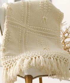 Aran Nosegay Crochet Throw - FREE PATTERN - I would like to do the flowers, stems, and bows in different colors...