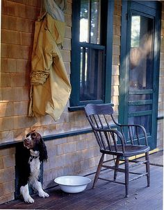 dog in doggie door to country porch from Flickr by GIGI Interior Design