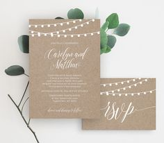 This listing is an INSTANT DOWNLOAD that includes a high resolution Kraft Wedding Invitation Suite template in a PDF format for you to edit and print at home or your local copy shop. Create multiple versions with different text and print as many copies as you need.  --------------------- WHAT YOU GET --------------------- • Wedding Invitation Template: 5x7 (2 per 8.5x11 page) Includes graphics for back printing. Fits in standard A7 envelopes.  • RSVP Card Template: 3.5x5 (4 per 8.5x11 page)…