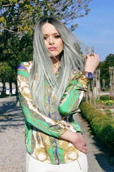 Fantasy Hair / black-gray-silver ombre #ombre