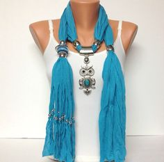 turquoise jewelry scarf with very pretty pendant