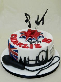 Music/singing and London themed cake