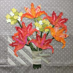 16th and Baltimore quilt pattern: Block 2 at Eye Candy Quilts.  Daylilies and limelight hydrangeas.
