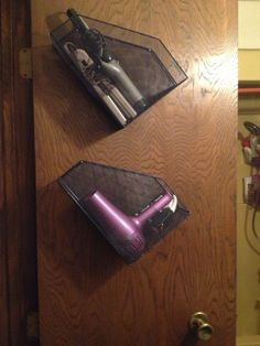 Bathroom orGanization: Use wire desk organizers on the inside of your closet doors to store your hair irons and other hair supplies #DIY #bathroomorganization #gayla4044