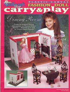 """""""DINING ROOM""""~Plastic Canvas PATTERN BOOK~Carry & Play fits BARBIE FASHION DOLL picclick.com"""