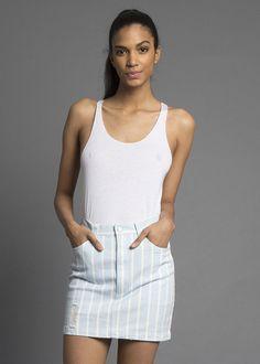 Hearts Striped Denim Mini Skirt