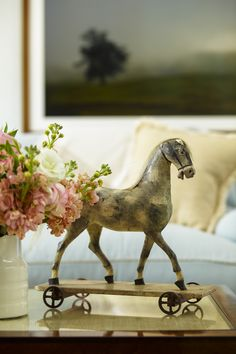 Wonderful antique pull toy finds rightful place as treasured decor: repurpose & enjoy.