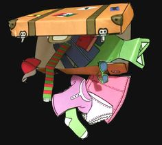"""Super cute suitcase and clothing items...I use it to """"pack"""" some Spanish vocab before summer vacation....."""