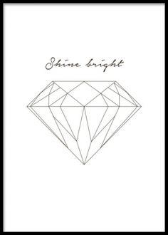 Tavla med text och diamant- Poster med diamant, 50x70cm. www.desenio.se