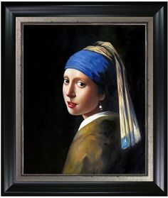 Overstock Art Girl with a Pearl Earring by Johannes Vermeer (Framed Canvas)