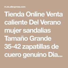 Tienda Online Venta caliente Del Verano mujer sandalias Tamaño Grande 35-42 zapatillas de cuero genuino Diamante de buena calidad gruesa de tacón alto zapatos femeninos | Aliexpress móvil