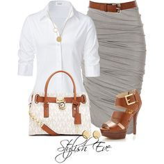 Love the scrunched fabric pencil skirt & crisp white blouse.Gray and leather accents looks great. I could wear a button down to work every day.